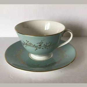 Royal Doulton Green Gold Trim Teacup & Saucer